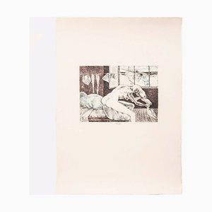 Litografia Gabriele Mucchi, Woman and Fisherman, 1972
