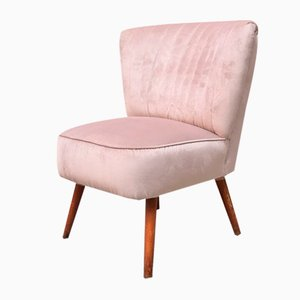 Italian Modern Pink Velvet and Beech Chair, 1960s