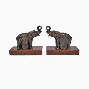 Art Deco Elephant Bookends, 1930s, Set of 2