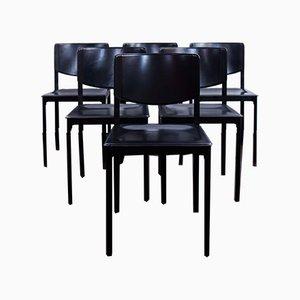 Sedie da pranzo in pelle di Matteo Grassi, anni '90, set di 6