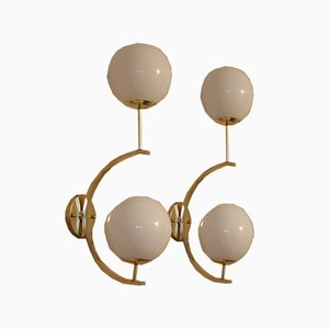 Midcentury Modern Italian Brass and White Glass Sconces, 1990s, Set of 2