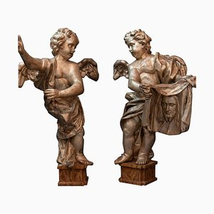 Florence Baroque Angels in Papier Mâché, Set of 2