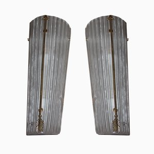 Mid-Century Modern Tall Brass & White Murano Glass Sconces, 1990s, Set of 3