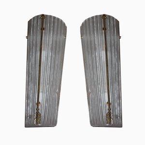Mid-Century Modern Tall Brass & White Murano Glass Sconces, 1990s, Set of 3