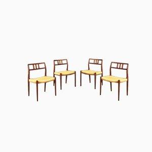 Dänische Esszimmerstühle aus Holz & Geflecht von Niels Otto Møller für JL Møllers, 1966, 4er Set
