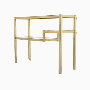 Brass and Glass Console Table by Pierre Vandel, 1970s