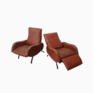 Mid-Century Reclining Armchairs by Marco Zanuso, Set of 2