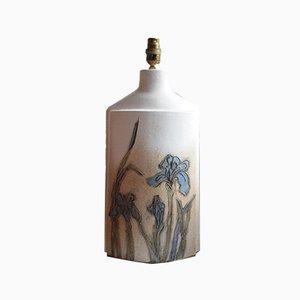 Blue Iris Ceramic Table Lamp Base from Tremaen Studio, 1970s
