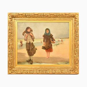 Antique 2 Girls at the Seat Portrait Oil on Canvas Painting by Stéphen Jacob