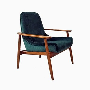 Mid-Century Italian Green Velvet and Wood Armchair In the Style of Gigi Radice, 1950s
