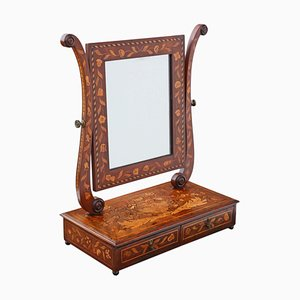 Antique 19th Century Marquetry Dressing Table With Swing Mirror