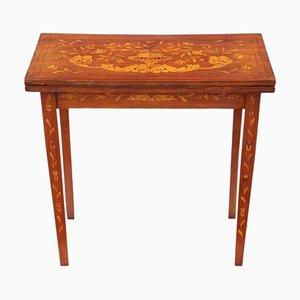 Antiker viktorianischer klappbarer Kartentisch aus Mahagoni mit Intarsien