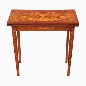 Antique Victorian Mahogany Marquetry Folding Card Console Table