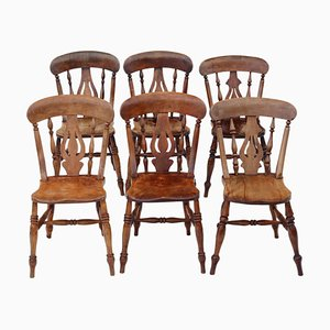 Antique Victorian C1890 Ash and Elm Dining Chairs, Set of 6
