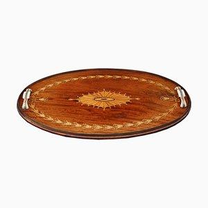 Antique C1915 Inlaid Mahogany Oval Tea Tray