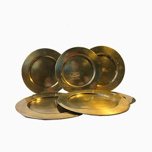 Vintage Danish Brass Plates from Stelton, 1960s, Set of 10