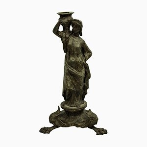 Antique Bronze Grand Tour Danaid Candleholder