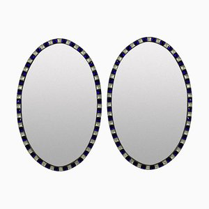 Vintage Georgian Style Irish Cobalt Blue and Rock Crystal Mirrors, Set of 2