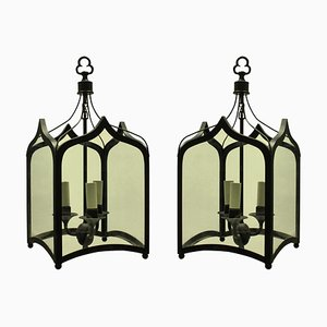 Vintage Gothic Style Iron Ceiling Lamps, 1960s, Set of 2