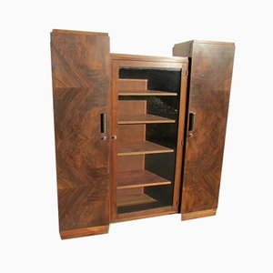 Art Deco Burl Walnut Library Display Cabinet, 1930s