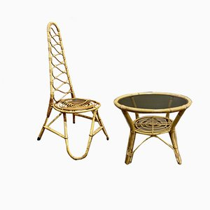Rattan Chair & Table, 1960s, Set of 2