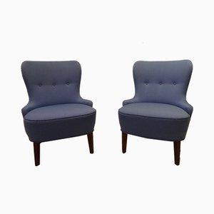 Blaue Vintage Sessel, 2er Set