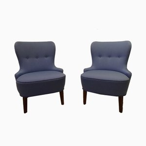 Vintage Blue Lounge Chairs, Set of 2