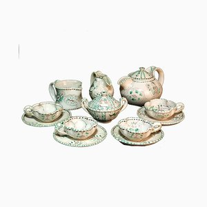 Italian Majolica Pottery Ceramic Tea Set by Ilario Ciaurro, 1920s, Set of 8