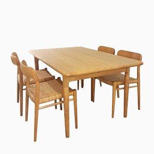 Sedie da pranzo Number 75 in quercia e canna di Niels Otto Møller per JL Møllers, anni '60, set di 5