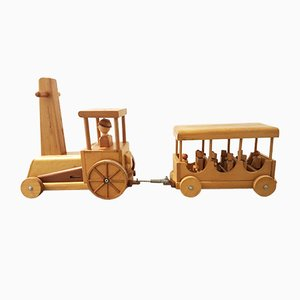 Vintage Wooden Locomotive & Carriage Train Toy