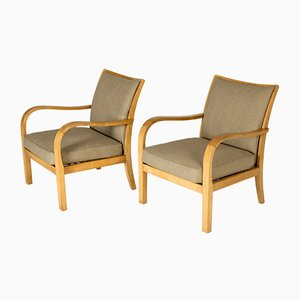 Birch and Linen Lounge Chairs by Axel Larsson for Bodafors, Sweden, 1930s, Set of 2
