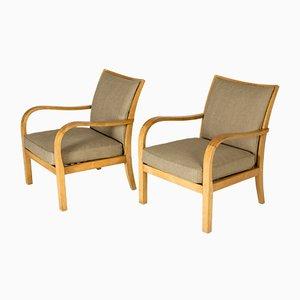 Sessel aus Birke & Leinen von Axel Larsson für Bodafors, Schweden, 1930er, 2er Set