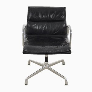 Black Leather Soft Pad Chair by Charles & Ray Eames for Herman Miller