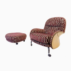 Louisiana Lounge Chair & Ottoman by Vico Magistretti for De Padova, 1990s, Set of 2