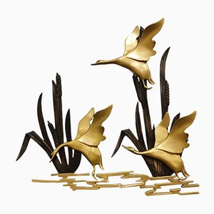 Vintage Brass Bird Wall Sculpture, 1970s