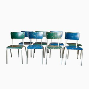 Industrial Blue & Green Dining Chairs, 1970s, Set of 4