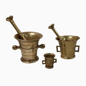 Antique Brass Mortars, Set of 3