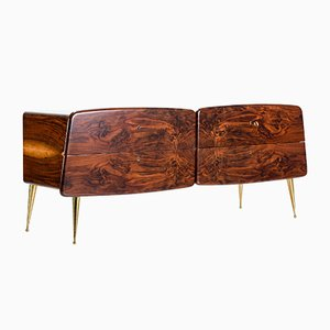 Mid-Century Italian Walnut and Painted Glass Sideboard, 1950s