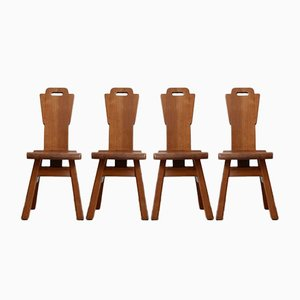 Mid-Century Brutalist Belgian Oak Dining Chairs, Set of 4