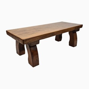 Rustic Solid Oak Rectangular Coffee Table with Curved Legs, 1970s