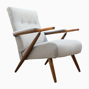 Mid-Century Teak & Upholstered Reclining Lounge Chair