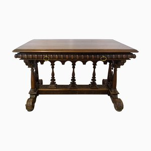 19th Century French Henri II Walnut Writing Table or Desk