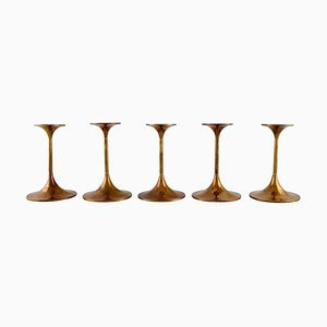 Danish Hi-Fi Brass Candleholders by Max Brüel for Torben Ørskov, 1960s, Set of 5