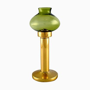 Oil Lamps in Brass and Green Art Glass by Hans-Agne Jakobsson for A / B Markaryd, 1960s, Set of 2