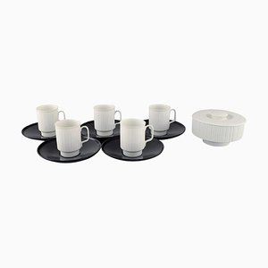 Porcelain Noire Mocha Cups with Saucers by Tapio Wirkkala for Rosenthal, Set of 11