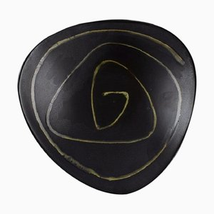 Swedish Bowl in Black Glazed Ceramic with Abstract Motif, 1950s