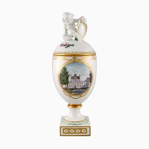 Antique Royal Copenhagen Lidded Trophy in Hand-Painted Porcelain