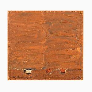Composition Huile sur Panneau Moderniste par Nils-Göran Brunner, 1970