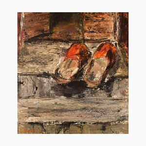 Slippers on a Staircase Oil on Canvas by Hanna Brundin, Sweden, 1970s
