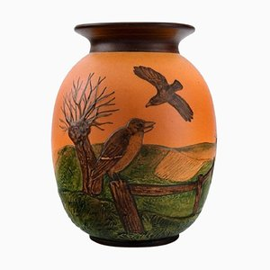 Vase in Hand-Painted Glazed Ceramic Landscape with Birds from Ipsen's, Denmark, 1920s